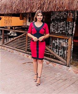 Vestido Tubinho Vermelho Preto em Crepe de Malha