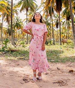 Vestido Godê Rosa com Faixa em Suplex Soft