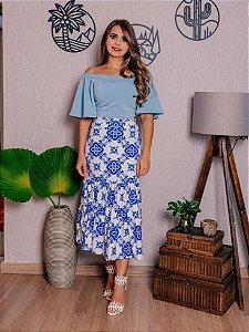 Conjunto Saia e Blusa em Tons de Azul em Suplex