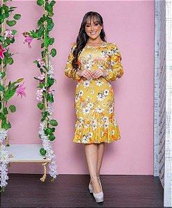 Vestido Midi Evasê Floral em Crepe de Malha