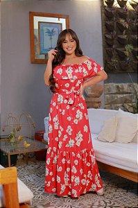 Vestido Longo Vermelho com Flores Off em Suplex Soft