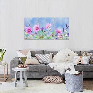 Conjunto 3 Telas Flores Artístico Natureza Flowers