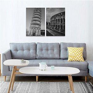 Kit 2 Quadros Torre de Pisa e Coliseu Itália em Preto e Branco