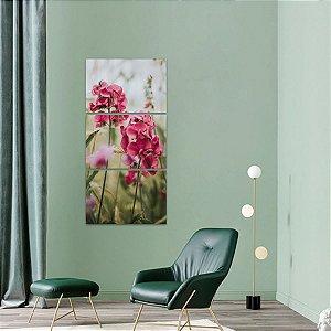 Quadro Flores Natureza Artístico Mosaico Vertical 3 Peças