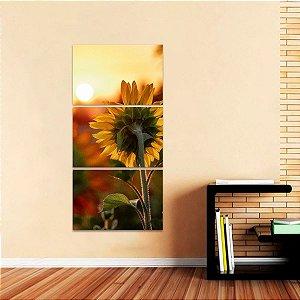 Quadro Paisagem Flor Girassol e Pôr do Sol Natureza Conjunto Vertical