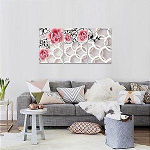 Quadro Flores Rosas Abstratas Circulos Arte