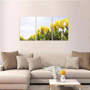 Conjunto 3 Telas Flores Tulipas Amarelas