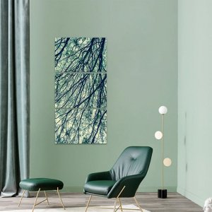 Quadro Mosaico Vertical Galhos Secos Natureza decorativo
