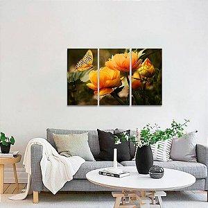 Quadro decorativo Flores e Borboleta Natureza Arte
