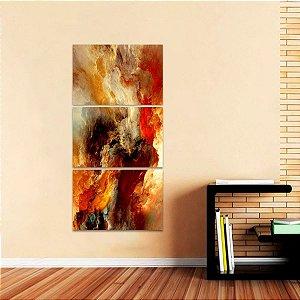 Quadro Mosaico Vertical Nuvens Abstratas Colors 3 Peças