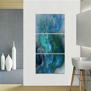 Quadro Nuvens Azuis Abstrato Mosaico Vertical 3 Peças