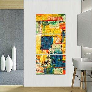 Quadro Abstrato Artístico Colorido Estilo Pintura Vertical