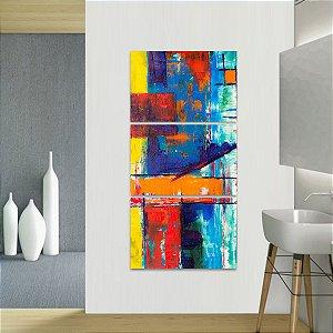 Quadro Conjunto Abstrato Artístico Estilo Pintura Vertical 3 Peças