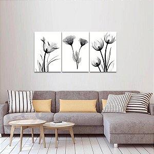 Kit 3 Quadros Flores Raio X em Preto e Branco Arte