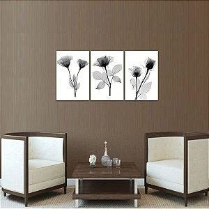 Trio de Quadros Flores Raio X em Preto e Branco Arte decorativo