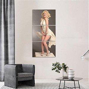 Quadro Marilyn Monroe Artístico Vestido em 3 Peças