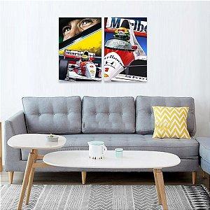 Kit 2 Quadros decorativo de Ayrton Senna Carros e Velocidade