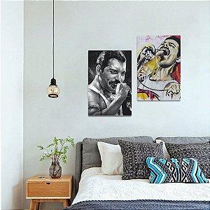 Quadro Duo de Freddie Mercury Música decorativo 2 Peças