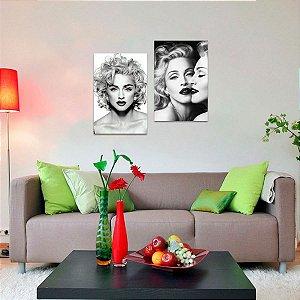 Kit 2 Quadros Madonna Celebridade Artístico em Preto e Branco