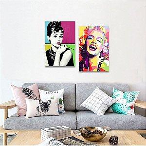 Quadro Kit 2 Peças decorativas Marilyn Monroe e Audrey Retrô