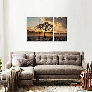 Quadro Árvore Solitária Nascer do Sol Paisagem em 3 Peças