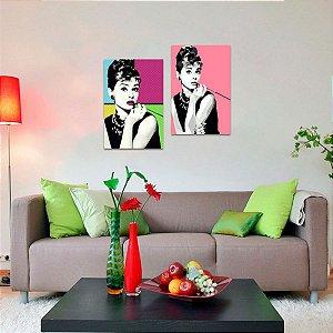 Kit 2 Quadros Retrô de Audrey Hepburn Colorido  decorativo