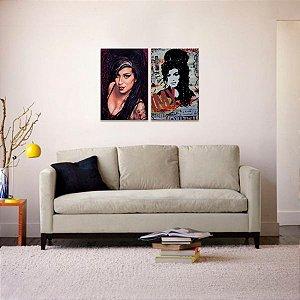 Kit 2 Quadros de Amy Winehouse Música Artístas