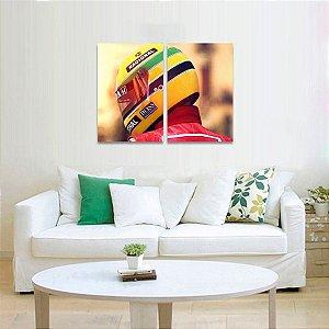 Quadro Ayrton Senna em 2 Peças Capacete Amarelo