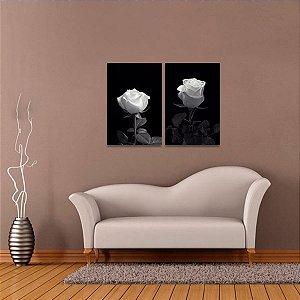 Quadro decorativo Rosas Brancas Flores Retrô Kit 2 Peças