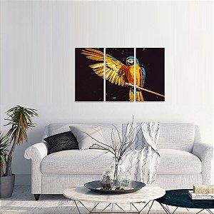 Quadro Arara Amarela Aves Conjunto 3 Peças Natureza
