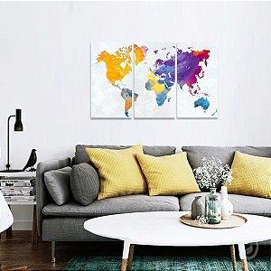 Quadro Mapa Mundi Estilo Continentes Multicolorido
