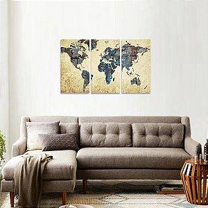 Quadro Mapa Mundi em 3 Telas Vintage Estilo