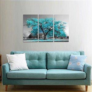 Conjunto 3 Peças Árvore da Vida Paisagem Azul Claro