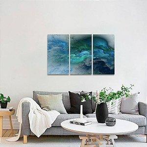 Quadro Nuvens Azuis Abstratas Mosaico em 3 Peças