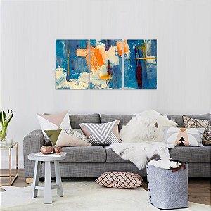 Quadro Abstrato Moderno Azul Laranja em 3 Peças