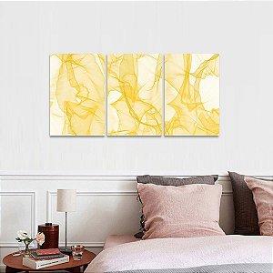 Kit 3 Peças  Quadro Abstrato Modern Design Amarelo