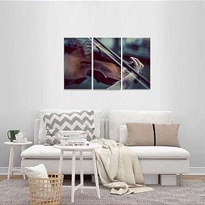 Quadro decorativo Tocando Violino Instrumentos Jogo 3 Peças
