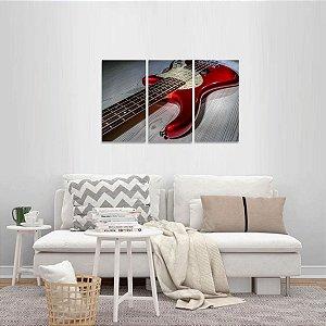 Conjunto 3 Peças Música Rock Guitarra Vermelha