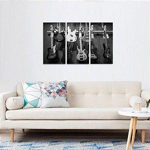 Quadro decorativo Coleção Guitarras em Preto e Branco