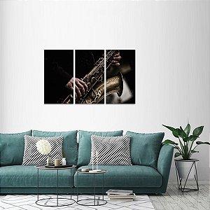 Quadro decorativo Play Saxofone Jogo 3 Peças