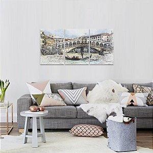 Quadro Paisagem Artística Cidade de Veneza Mosaico