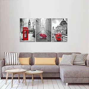 Quadro Paris e Londres Preto Branco e Vermelho Arte