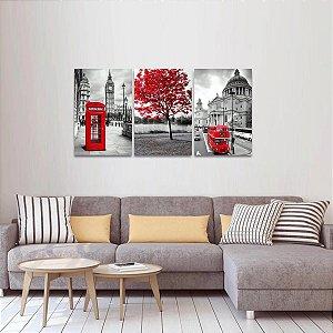 Conjunto 3 Quadros decorativo London & A Árvore da Vida