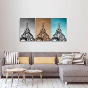 Kit 3 Quadros Versões Torre Eiffel Paris P&B Sépia e Céu decorativo-1