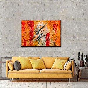 Quadro Arte Abstrata Expressionismo Laranja Estilo Pintura