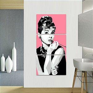 Quadro Audrey Hepburn Artístico Retrô Conjunto Vertical