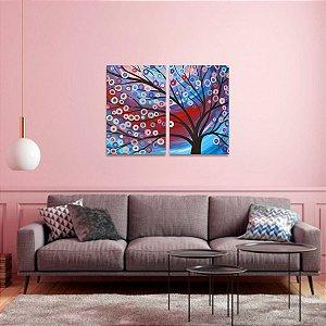 Quadro Árvore Abstrata Colorida Artístico em 2 Peças