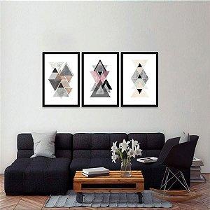 Kit 3 Quadros Abstratos Escandinavo Triângulos Geométrico