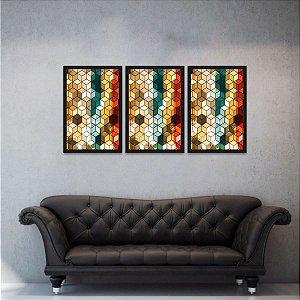 Quadro Abstrato Geométrico Multicolorido Cubes Moderno