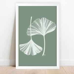Quadro Coleção Flores Arte Folhas Brancas